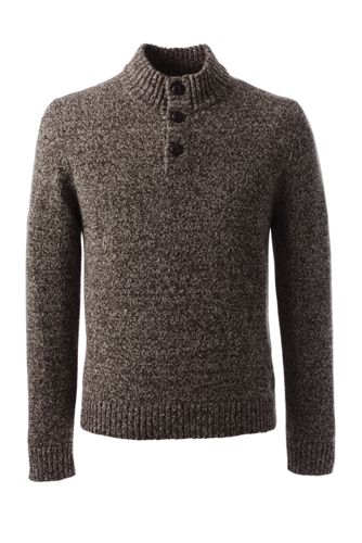 Men's Regular Marled Button-neck Sweater