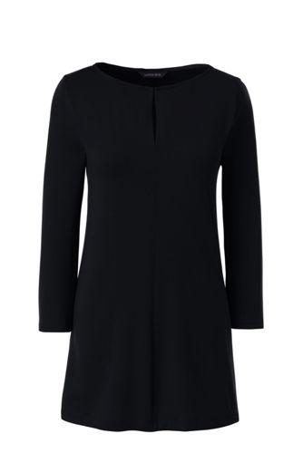 Langes Baumwoll/Viskose-Shirt mit Schlüsselloch-Ausschnitt