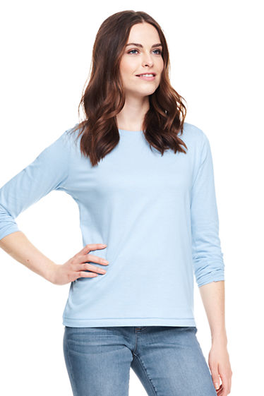Women's Relaxed Supima Crewneck T-shirt from Lands' End