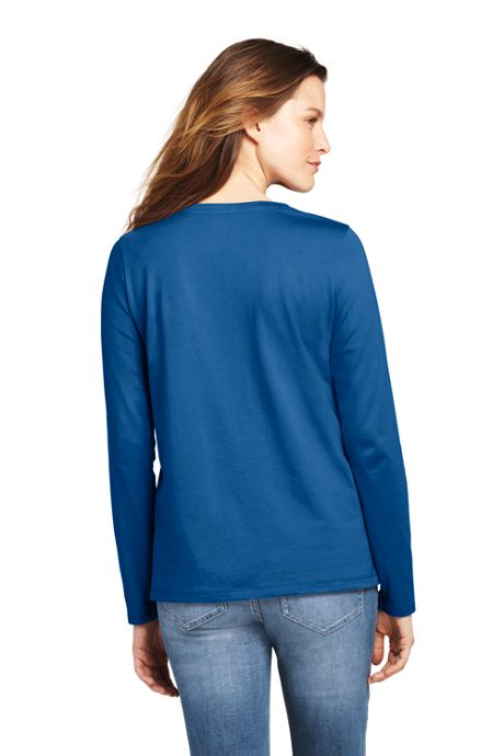 Women's Petite Relaxed Supima Cotton Long Sleeve Crewneck T-Shirt