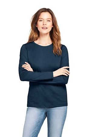 23148e5bc1 Women's Supima Long Sleeved Crew Neck T-shirt | Lands' End