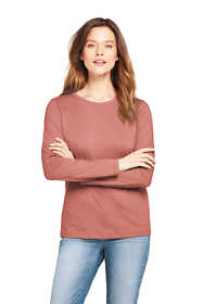 Women's Petite Supima Cotton Long Sleeve T-shirt - Relaxed Crewneck