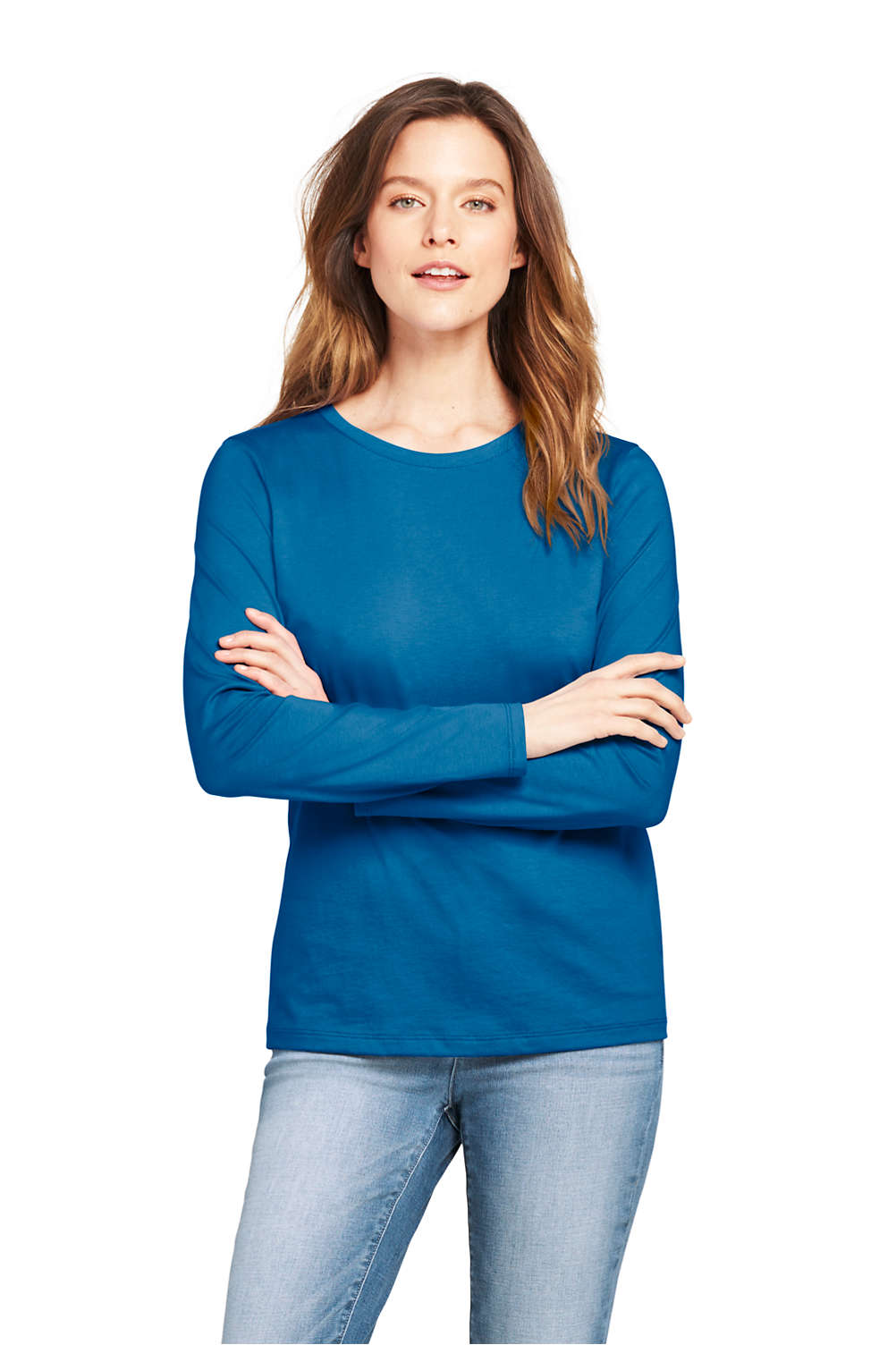 fefd6ae30e23 Women's Supima Cotton Long Sleeve T-shirt - Relaxed Crewneck from ...