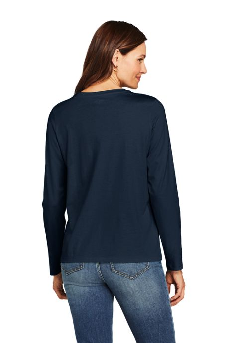 Women's Relaxed Fit Supima Cotton Crewneck Long Sleeve T-shirt
