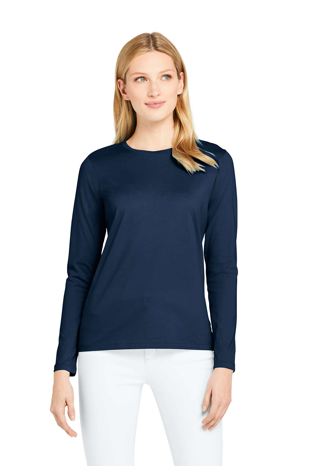 1af09e276e7 Women s Supima Cotton Long Sleeve T-shirt - Relaxed Crewneck from Lands  End