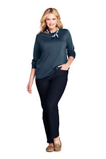 Women's Plus Size Petite Relaxed Supima Cotton Long Sleeve Crewneck T-Shirt, alternative image