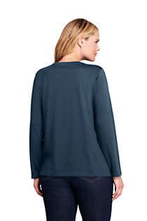 Women's Plus Size Petite Relaxed Supima Cotton Long Sleeve Crewneck T-Shirt, Back
