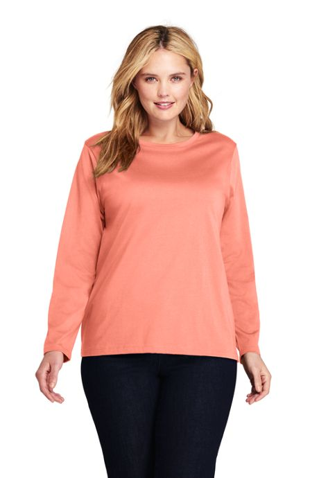 Women's Plus Size Relaxed Long Sleeve T-shirt Supima Cotton Crewneck