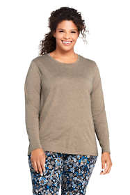 Women's Plus Size Petite Supima Cotton Long Sleeve T-shirt - Relaxed Crewneck