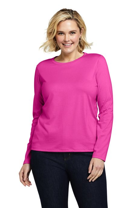 Women's Plus Size Petite Relaxed Supima Cotton Long Sleeve Crewneck T-Shirt