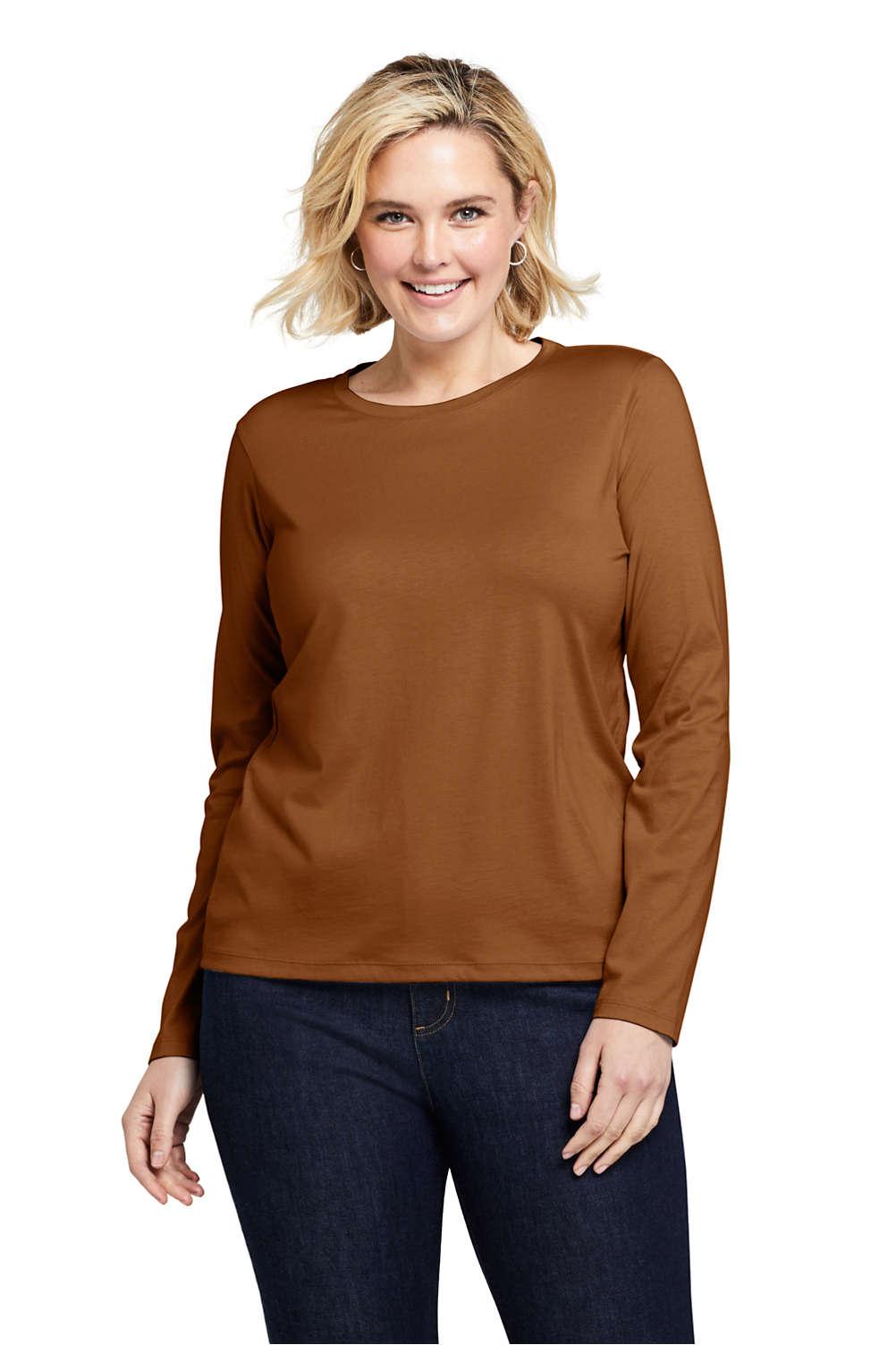 3d734cbf Women's Plus Size Relaxed Supima Cotton Long Sleeve Crewneck T-Shirt