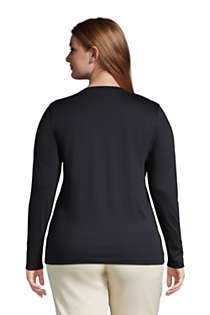 Women's Plus Size Relaxed Supima Cotton Long Sleeve Crewneck T-Shirt, Back