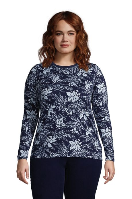 Women's Plus Size Relaxed Supima Cotton Long Sleeve Crewneck T-Shirt