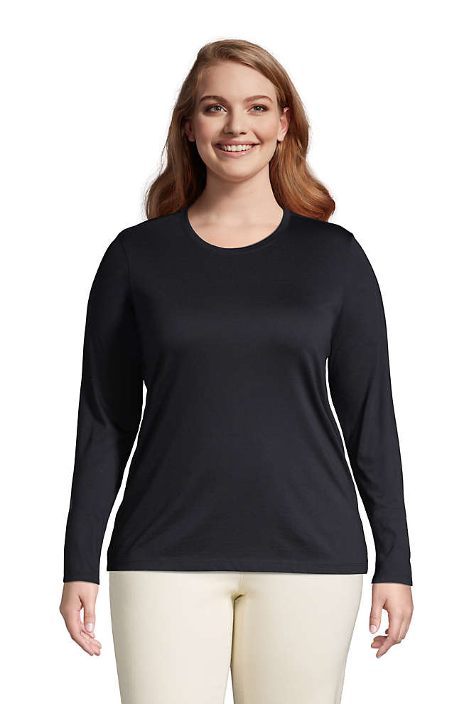 Women's Plus Size Relaxed Supima Cotton Long Sleeve Crewneck T-Shirt, Front