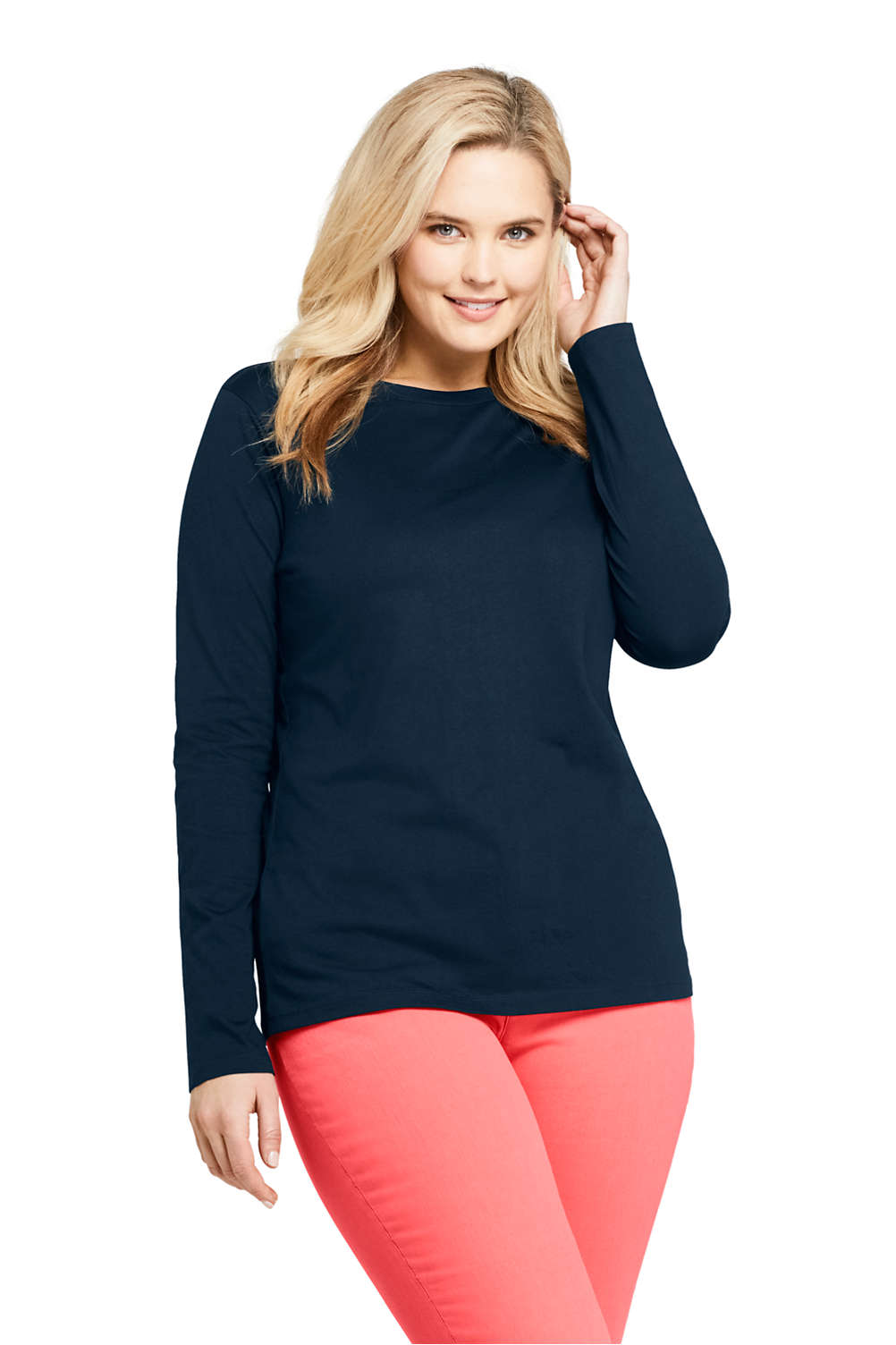 a26297ce0274 Women's Plus Size Relaxed Fit Supima Cotton Crewneck Long Sleeve T-shirt  from Lands' End