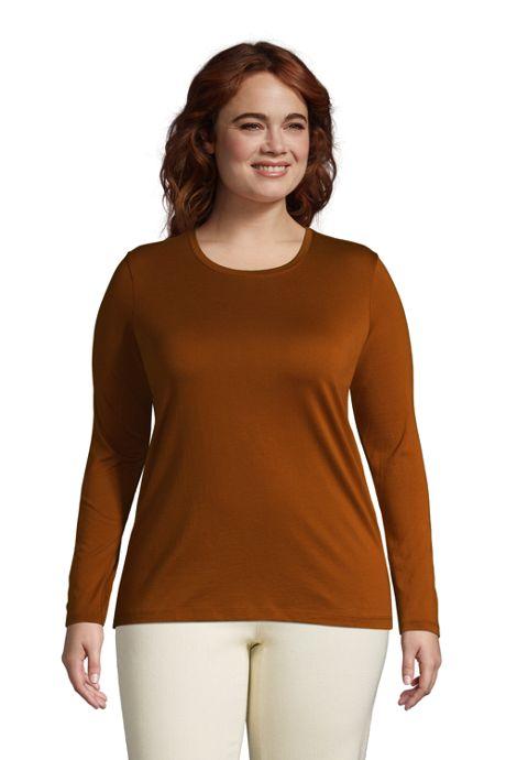 Women's Plus Size Relaxed Supima Cotton Long Sleeve Crewneck T-Shirt