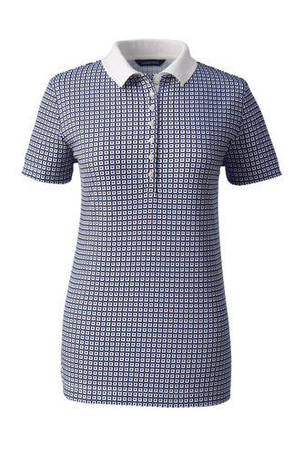 Pima-Poloshirt Gemustert mit kurzen Ärmeln