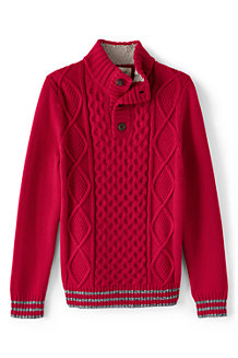 Boys' Aran Cable Button Polo Neck Jumper