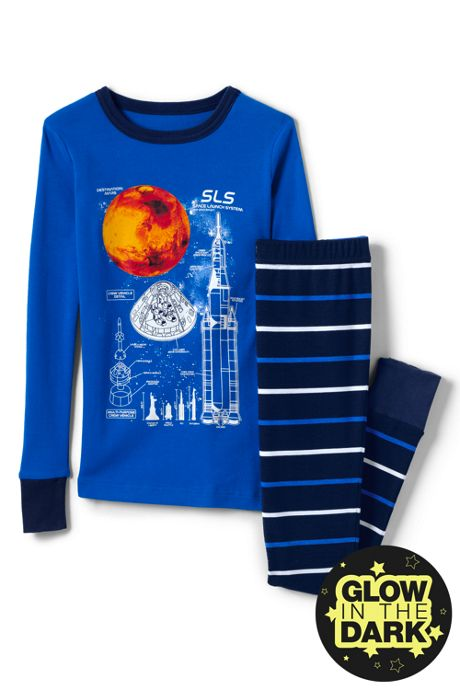 Boys Glow in Dark Knit Snug Fit Pajama Set