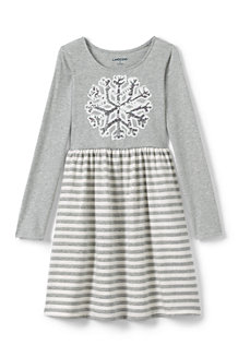 Girls' Holiday Embellished Gathered Waist Jersey Dress