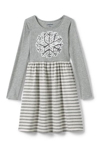 Girls' Gathered Waist Graphic Jersey Dress
