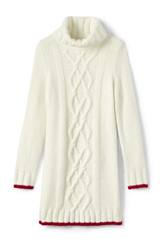 Girls' Cowl Neck Cable Sweater Dress