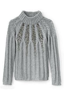 Girls' Embellished Long Sleeve Cable Funnel Neck