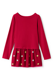 Girls' Long Sleeve Embellished Tulle Legging Top