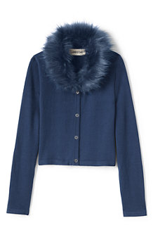 Girls' Fur Collar V-Neck Sophie Cardigan