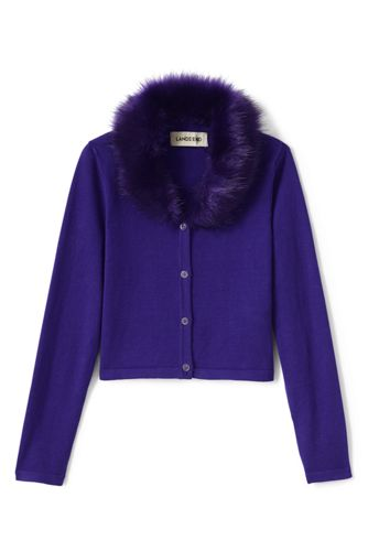 Little Girls' Fur Collar V-Neck Sophie Cardigan