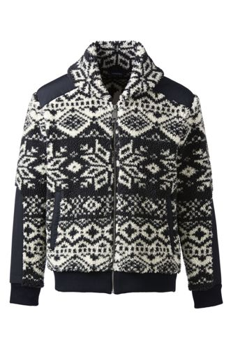 Men's Wool Blend Crewneck Yoke Fair Isle Sweater from Lands' End