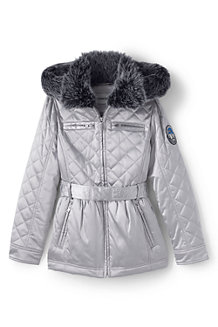 Girls' Quilted Metallic Coat