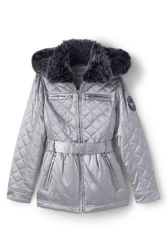Little Girls' Quilted Metallic Coat