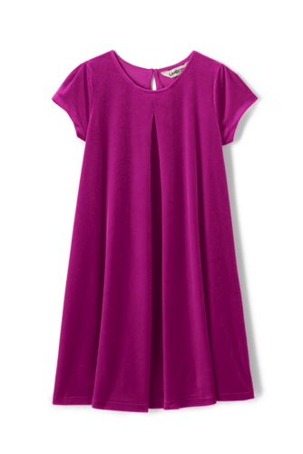 Little Girls' Cap Sleeve Velveteen Dress
