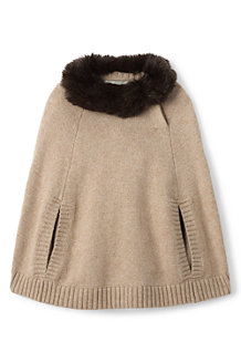 Girls' Cape with Fur Collar