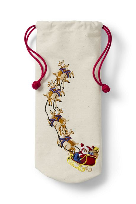 Embroidered Christmas Wine Bag