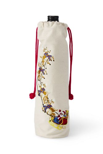 Embroidered Cinched Wine Bag