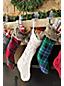 La Grande Chaussette de Noël à Carreaux et Fausse Fourrure à Suspendre
