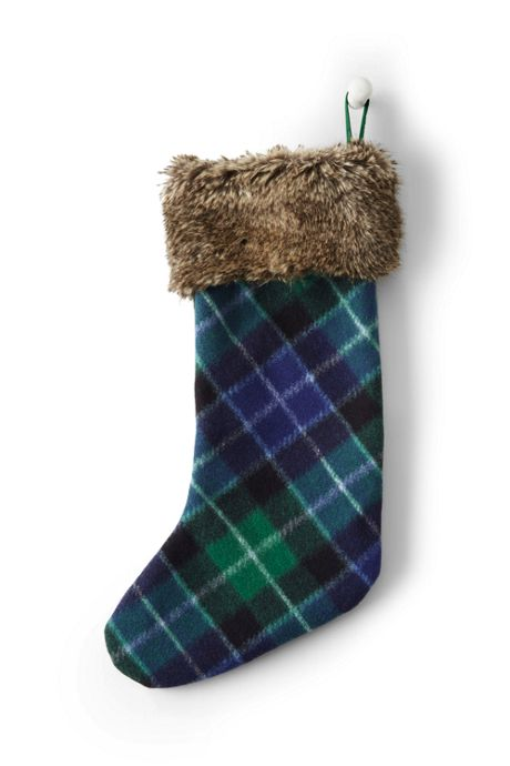 Knit Plaid Christmas Stocking