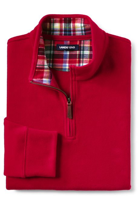 Men's Flannel Collar Bedford Rib Quarter-Zip Mock Pullover