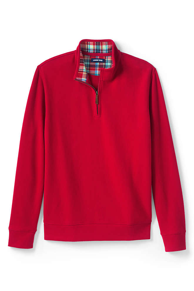 Men's Tailored Fit Flannel Collar Bedford Rib Quarter Zip Sweater, Front