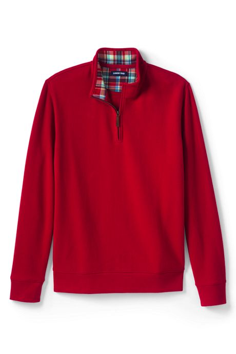 Men's Tall Flannel Collar Bedford Rib Quarter-Zip Mock Pullover