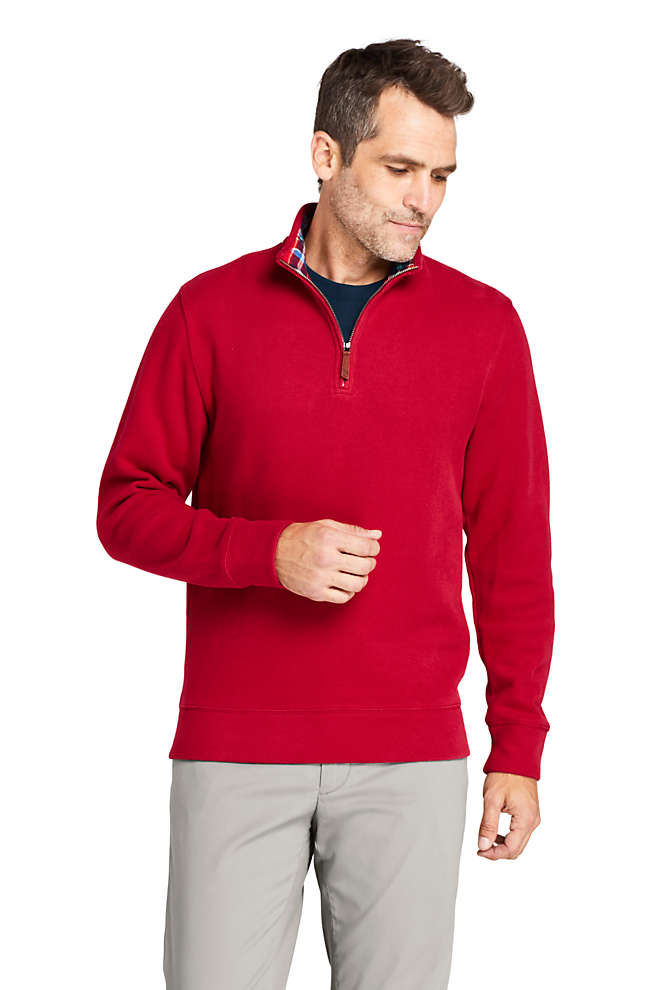 Men's Flannel Collar Bedford Rib Quarter Zip Sweater, Front