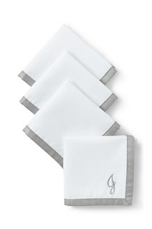 Linen/Cotton Border Cocktail Napkins – Set of 4