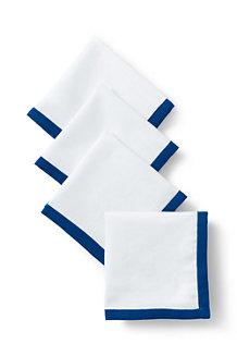 Linen/Cotton Border Cocktail Napkins – Set of 4