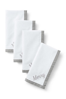 Linen/Cotton Border Napkins – Set of 4