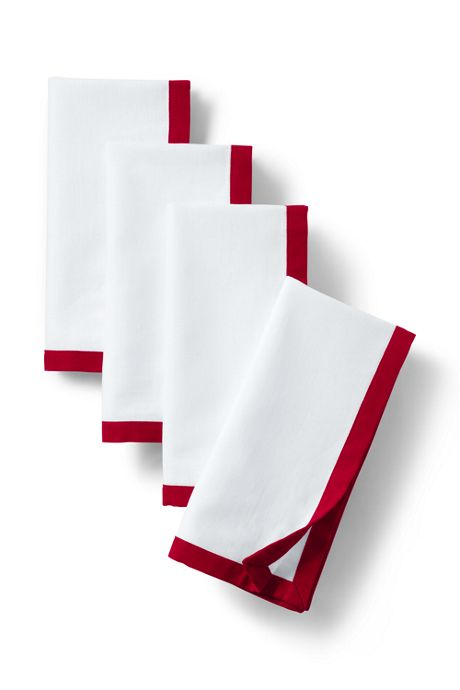 Linen Border Napkins Set of 4 (20x20)