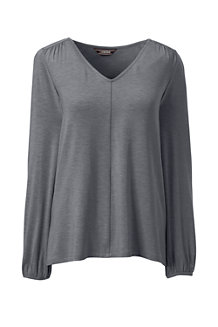 Women's Shirred Shoulder V-neck Top