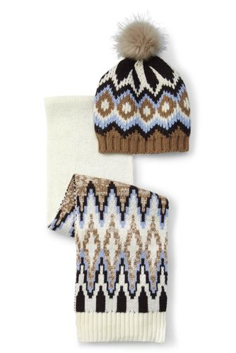 Boys Bold Fair Isle Hat & Scarf Set from Lands' End