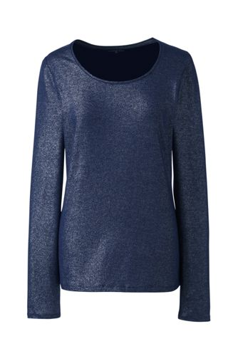 Le T-Shirt Stretch Métallisé et Manches Longues, Femme Stature Standard